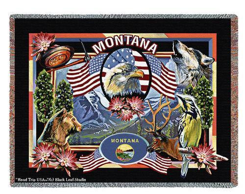 State Of Montana Tapestry Throw Blanket with Fringe by Artisan Textile Mill Pure Country Weavers Cotton USA 72x54 Tapestry Throw