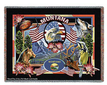 State Of Montana Large Soft Comforting Throw Blanket With Artistic Textured Design by Artisan Textile Mill Pure Country Weavers Cotton USA 72x54 Tapestry Throw