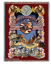 State Of South Dakota Tapestry Throw Blanket with Fringe by Artisan Textile Mill Pure Country Weavers Cotton USA 72x54 Tapestry Throw