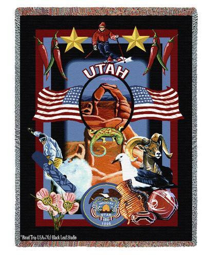 State Of Utah Tapestry Throw Blanket with Fringe by Artisan Textile Mill Pure Country Weavers Cotton USA 72x54 Tapestry Throw