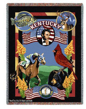 Pure Country Weavers | State Of Kentucky Tapestry Throw Blanket with Fringe Cotton USA 72x54 Tapestry Throw