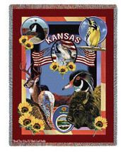 State Of Kansas Tapestry Throw Blanket with Fringe by Artisan Textile Mill Pure Country Weavers Cotton USA 72x54 Tapestry Throw