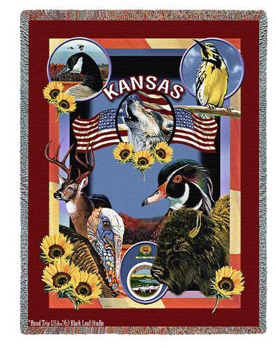 State of Kansas - Dwight D Kirkland - Cotton Woven Blanket Throw - Made in the USA (72x54) Tapestry Throw