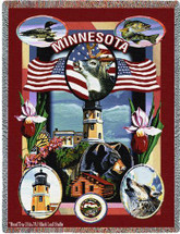 State Of Minnesota Tapestry Throw Blanket with Fringe by Artisan Textile Mill Pure Country Weavers Cotton USA 72x54 Tapestry Throw