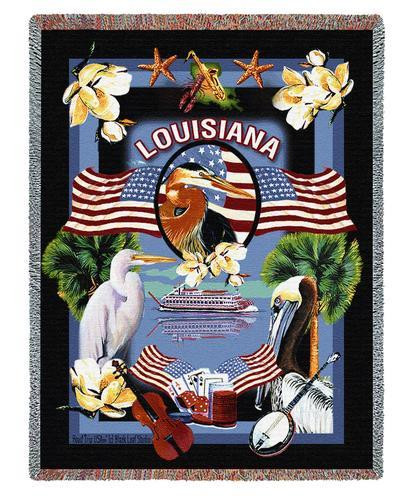Pure Country Weavers | State Of Louisiana Tapestry Throw Blanket with Fringe Cotton USA 72x54 Tapestry Throw
