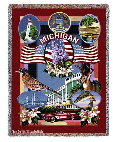 State Of Michigan Tapestry Throw Blanket with Fringe by Artisan Textile Mill Pure Country Weavers Cotton USA 72x54 Tapestry Throw