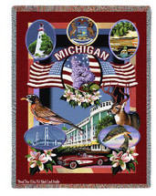 State Of Michigan Large Soft Comforting Throw Blanket With Artistic Textured Design by Artisan Textile Mill Pure Country Weavers Cotton USA 72x54 Tapestry Throw