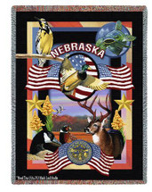 State Of Nebraska Tapestry Throw Blanket with Fringe by Artisan Textile Mill Pure Country Weavers Cotton USA 72x54 Tapestry Throw