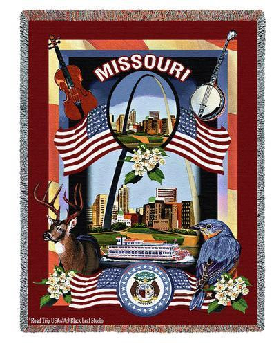 State Of Missouri Tapestry Throw Blanket with Fringe by Artisan Textile Mill Pure Country Weavers Cotton USA 72x54 Tapestry Throw