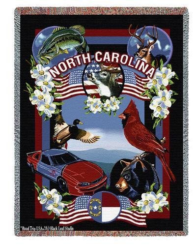 State Of North Carolina Tapestry Throw Blanket with Fringe by Artisan Textile Mill Pure Country Weavers Cotton USA 72x54 Tapestry Throw