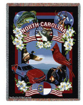 State Of North Carolina Large Soft Comforting Throw Blanket 100% Cotton Made in the USA 72x54 Tapestry Throw