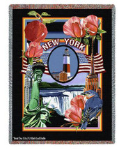 State Of New York Tapestry Throw Blanket with Fringe by Artisan Textile Mill Pure Country Weavers Cotton USA 72x54 Tapestry Throw