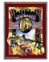 State Of New Mexico Tapestry Throw Blanket with Fringe by Artisan Textile Mill Pure Country Weavers Cotton USA 72x54 Tapestry Throw