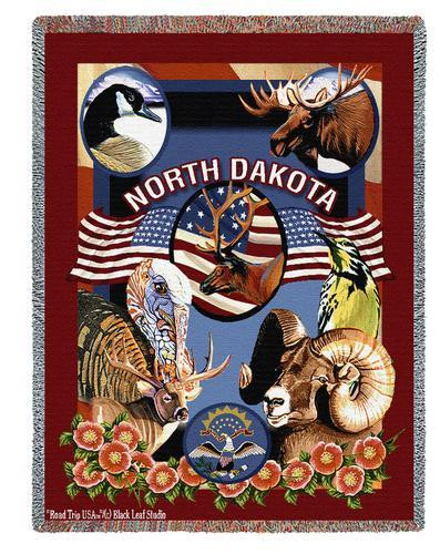 State Of North Dakota Tapestry Throw Blanket with Fringe by Artisan Textile Mill Pure Country Weavers Cotton USA 72x54 Tapestry Throw