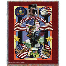 State Of Pennsylvania Large Soft Comforting Throw Blanket 100% Cotton Made in the USA 72x54 Tapestry Throw