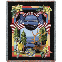 State Of Oregon Tapestry Throw Blanket with Fringe by Artisan Textile Mill Pure Country Weavers Cotton USA 72x54 Tapestry Throw