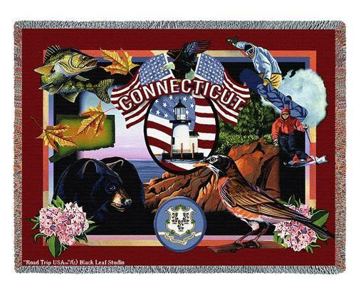 State Of Connecticut Throw Blanket 100% Cotton Made in the USA 72x54 Tapestry Throw