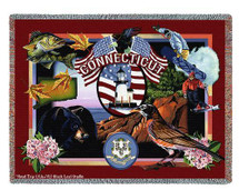 Pure Country Weavers   State Of Connecticut Tapestry Throw Blanket with Fringe Cotton USA 72x54 Tapestry Throw
