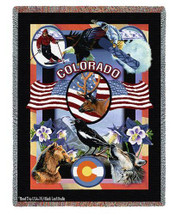 State Of Colorado Tapestry Throw Blanket with Fringe by Artisan Textile Mill Pure Country Weavers Cotton USA 72x54 Tapestry Throw