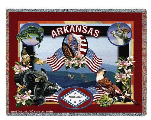 Pure Country Weavers | State Of Arkansas Tapestry Throw Blanket with Fringe Cotton USA 72x54 Tapestry Throw