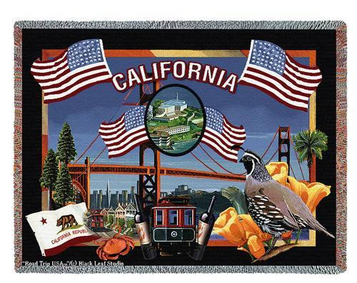 State Of California Tapestry Throw Blanket with Fringe by Artisan Textile Mill Pure Country Weavers Cotton USA 72x54 Tapestry Throw