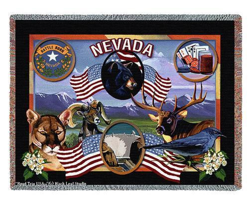State Of Nevada Tapestry Throw Blanket with Fringe by Artisan Textile Mill Pure Country Weavers Cotton USA 72x54 Tapestry Throw
