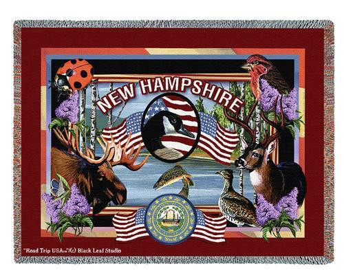 State Of New Hampshire Large Soft Comforting Throw Blanket 100% Cotton Made in the USA 72x54 Tapestry Throw