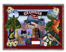 State Of Georgia Tapestry Throw Blanket with Fringe by Artisan Textile Mill Pure Country Weavers Cotton USA 72x54 Tapestry Throw