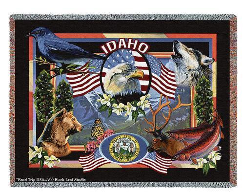 State Of Idaho Tapestry Throw Blanket with Fringe by Artisan Textile Mill Pure Country Weavers Cotton USA 72x54 Tapestry Throw