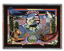State of Idaho - Dwight D Kirkland - Cotton Woven Blanket Throw - Made in the USA (72x54) Tapestry Throw