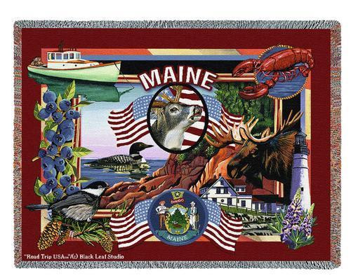 State Of Maine Tapestry Throw Blanket with Fringe by Artisan Textile Mill Pure Country Weavers Cotton USA 72x54 Tapestry Throw