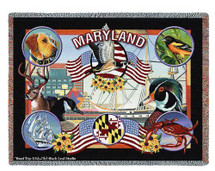 Pure Country Weavers   State Of Maryland Tapestry Throw Blanket with Fringe Cotton USA 72x54 Tapestry Throw