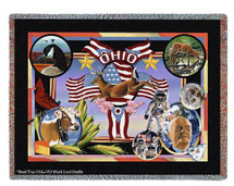 State Of Ohio Tapestry Throw Blanket with Fringe by Artisan Textile Mill Pure Country Weavers Cotton USA 72x54 Tapestry Throw