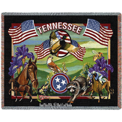 State Of Tennessee Tapestry Throw Blanket with Fringe by Artisan Textile Mill Pure Country Weavers Cotton USA 72x54 Tapestry Throw