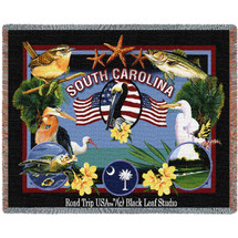 State Of South Carolina Tapestry Throw Blanket with Fringe by Artisan Textile Mill Pure Country Weavers Cotton USA 72x54 Tapestry Throw