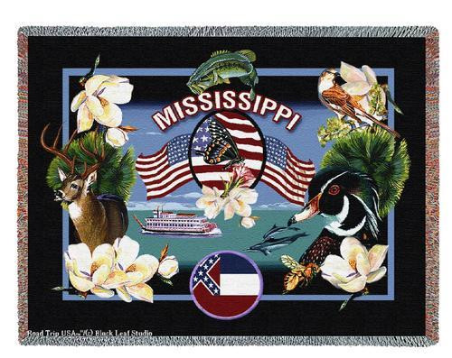 State Of Mississippi Tapestry Throw Blanket with Fringe by Artisan Textile Mill Pure Country Weavers Cotton USA 72x54 Tapestry Throw