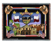 State Of Texas Large Soft Comforting Throw Blanket With Artistic Textured Design by Artisan Textile Mill Pure Country Weavers Cotton USA 72x54 Tapestry Throw