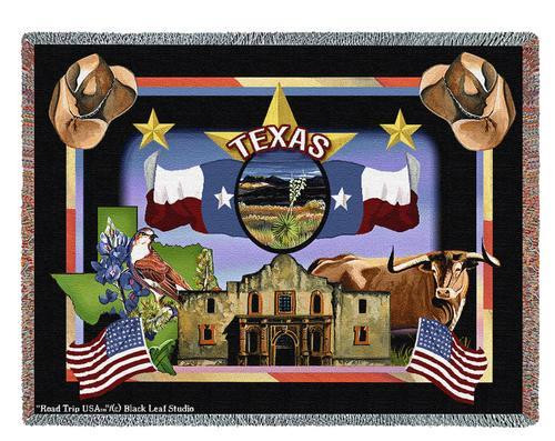 State Of Texas Tapestry Throw Blanket with Fringe by Artisan Textile Mill Pure Country Weavers Cotton USA 72x54 Tapestry Throw