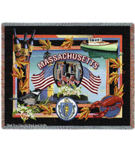 State Of Massachusetts Tapestry Throw Blanket with Fringe by Artisan Textile Mill Pure Country Weavers Cotton USA 72x54 Tapestry Throw