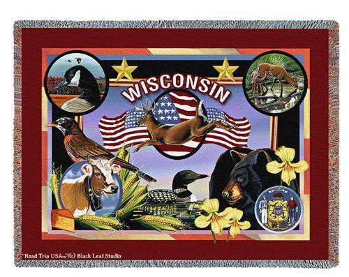 State Of Wisconsin Tapestry Throw Blanket with Fringe by Artisan Textile Mill Pure Country Weavers Cotton USA 72x54 Tapestry Throw