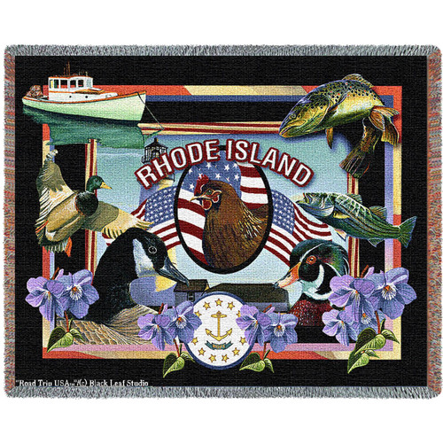 Pure Country Weavers | State Of Rhode Island Tapestry Throw Blanket with Fringe Cotton USA 72x54 Tapestry Throw
