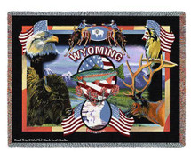 State Of Wyoming Tapestry Throw Blanket with Fringe by Artisan Textile Mill Pure Country Weavers Cotton USA 72x54 Tapestry Throw