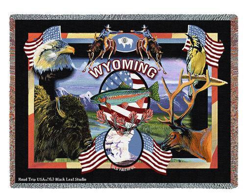 State of Wyoming - Dwight D Kirkland - Cotton Woven Blanket Throw - Made in the USA (72x54) Tapestry Throw