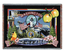 State Of Washington Tapestry Throw Blanket with Fringe by Artisan Textile Mill Pure Country Weavers Cotton USA 72x54 Tapestry Throw