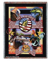 State Of Delaware Throw Blanket 100% Cotton Made in the USA 72x54 Tapestry Throw