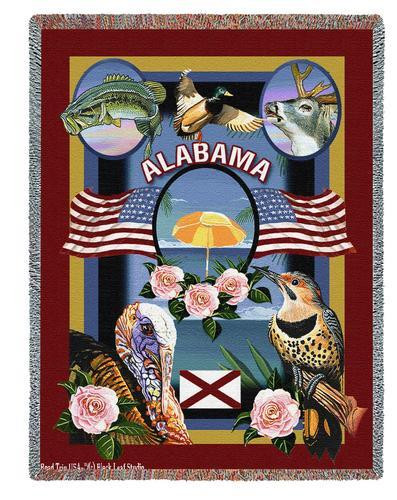 State Of Alabama Tapestry Throw Blanket with Fringe by Artisan Textile Mill Pure Country Weavers Cotton USA 72x54 Tapestry Throw