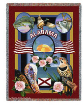 State Of Alabama Throw Blanket 100% Cotton Made in the USA 72x54 Tapestry Throw