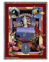 State Of Indiana Tapestry Throw Blanket with Fringe by Artisan Textile Mill Pure Country Weavers Cotton USA 72x54 Tapestry Throw