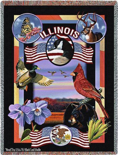 State Of Illinois Throw Blanket 100% Cotton Made in the USA 72x54 Tapestry Throw