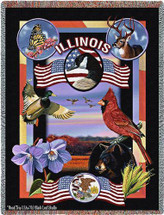 State Of Illinois by Dwight D Kirkland Tapestry Throw